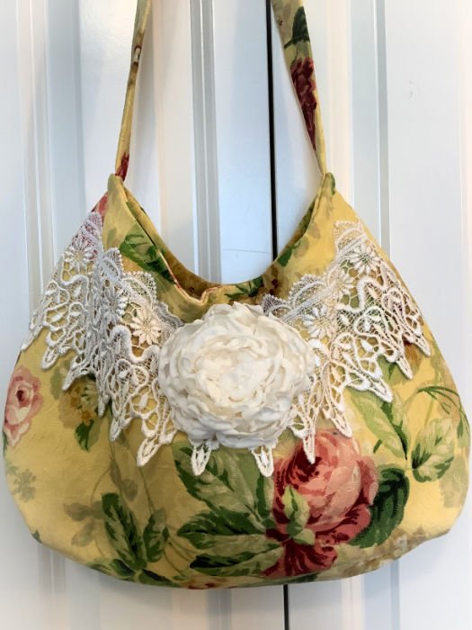 Vintage Maize & Red Roses Slouchy Hobo handbag