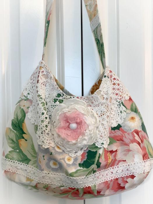Spring floral Cottage roses Slouchy handbag