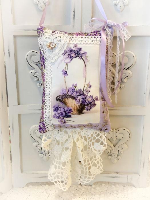 Basket of Violets Keepsake Pillow w/matching tag and sachet