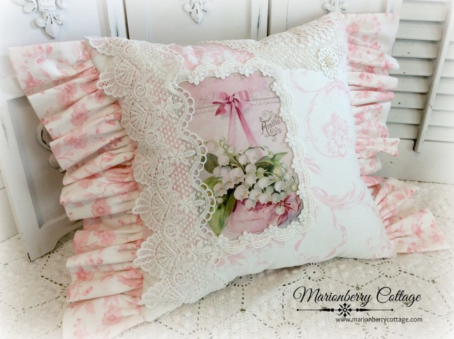French Pink toile Lily of the Valley pillow