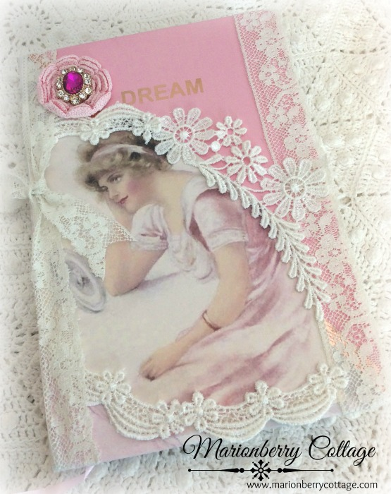 Pink Dream Lace Embellished journal