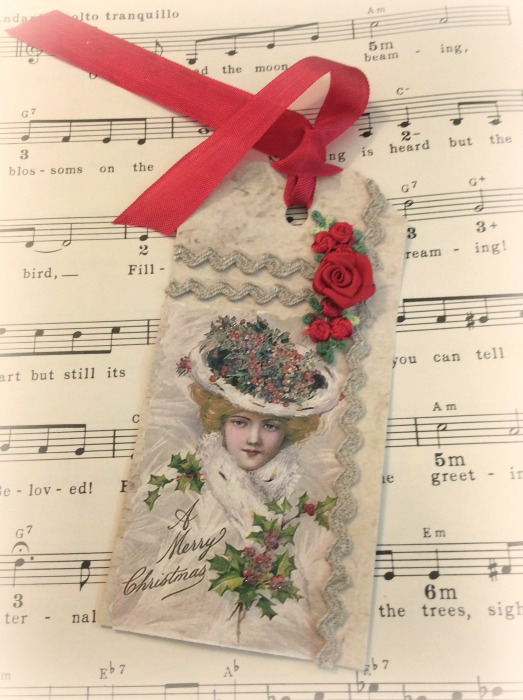 Vintage Victorian Christmas gift tag