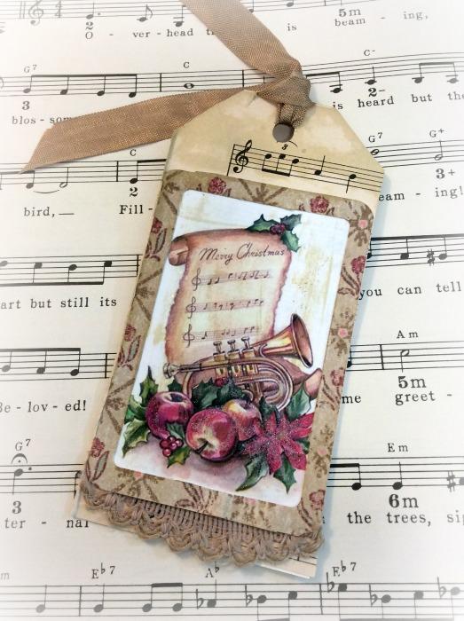 Vintage Music Christmas gift tag