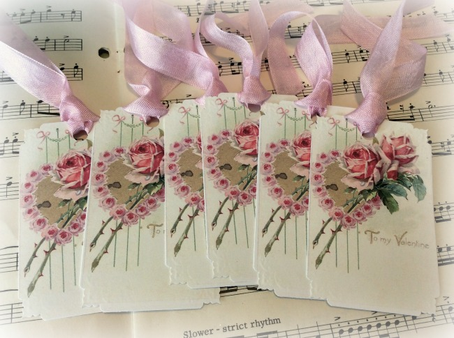 Gift Tags Vintage Valentine Pink Roses
