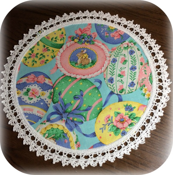 Easter eggs vintage crochet trim doily