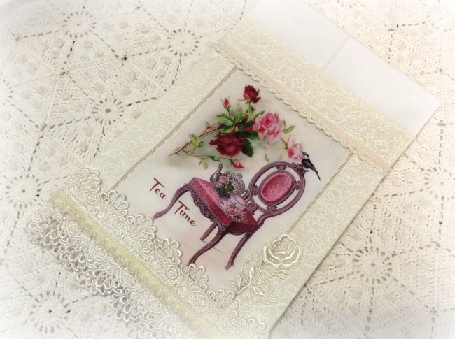 Guest tea towel Tea Time and Roses