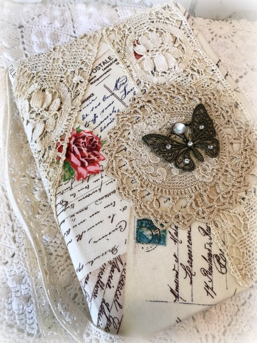 French Script roses junk journal