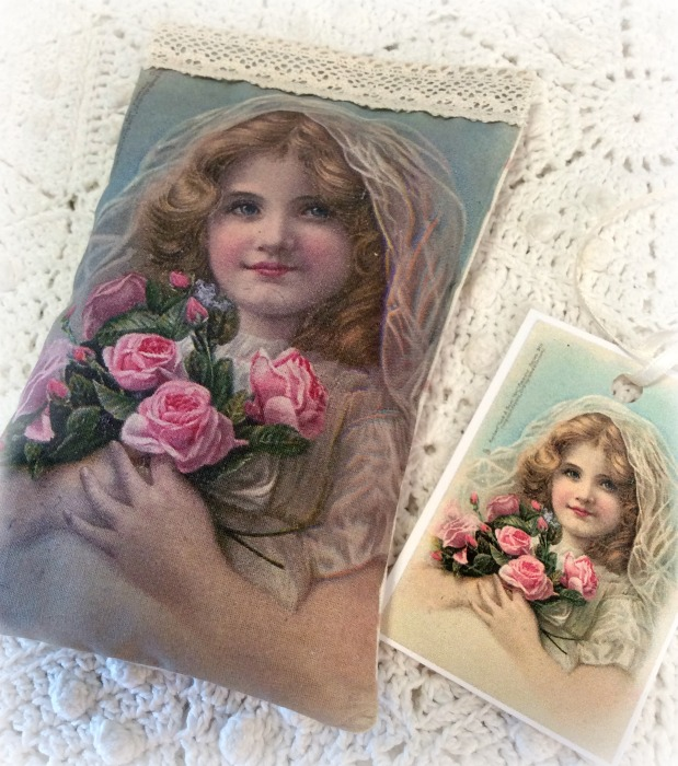 Vintage Postcard Lavender Sachet Girl with Roses