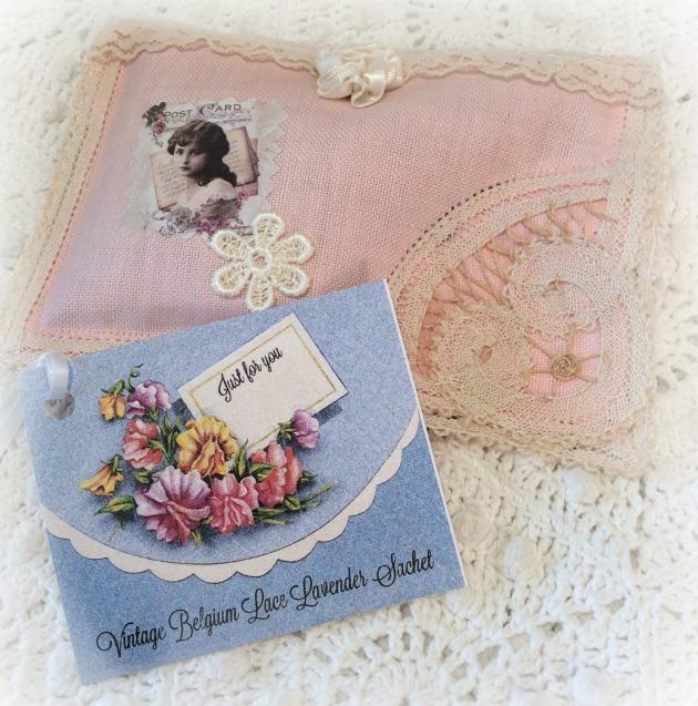 Vintage Belgium Lace Lavender Sachet Pink