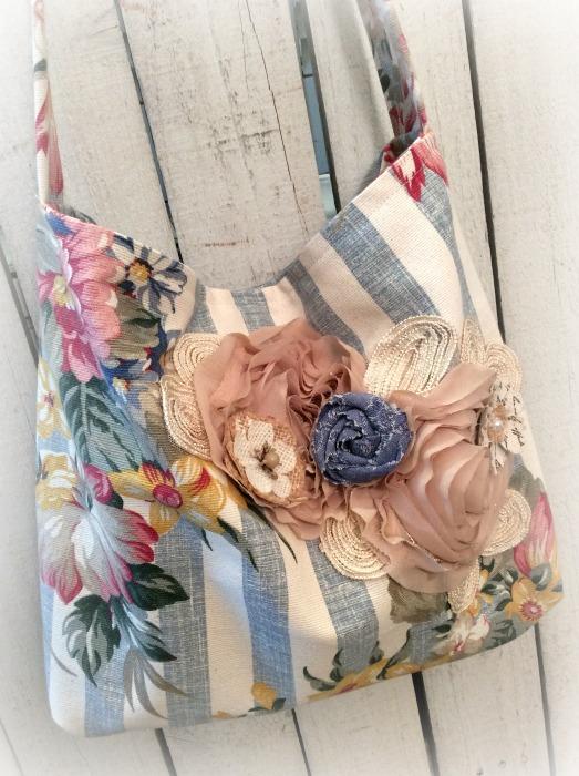 Denim Stripe & Roses Market Tote