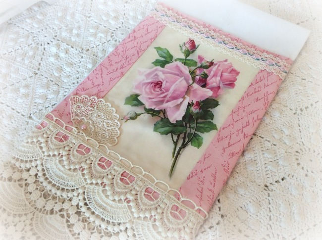 Guest Tea towel bouquet of pink roses