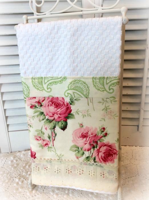 Pink Rose Cottage garden Kitchen towel