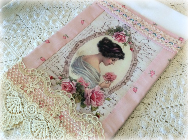 Guest Tea towel Victorian lady with rose