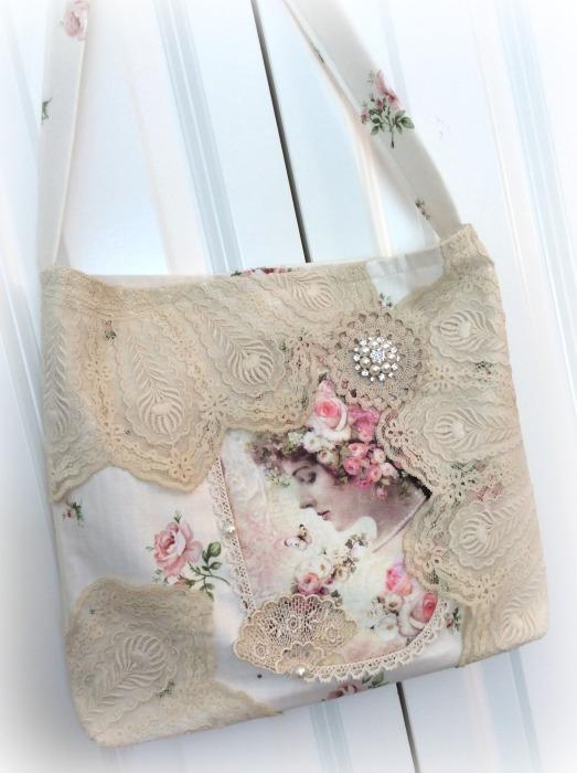 Lady in pink roses market handbag