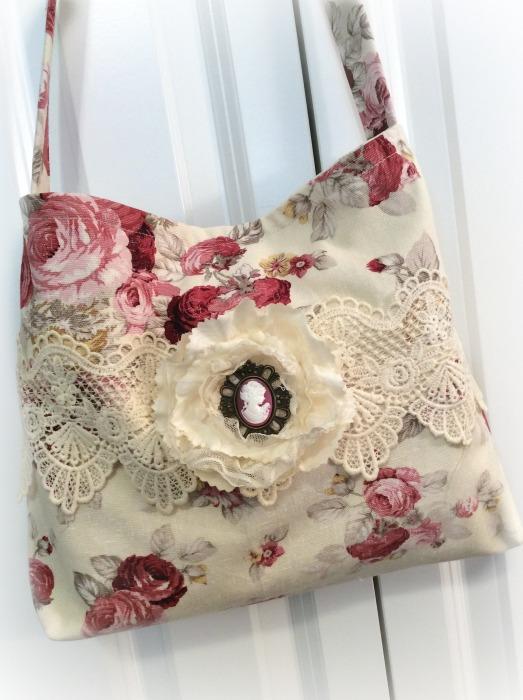 Cranberry Red Roses Market handbag