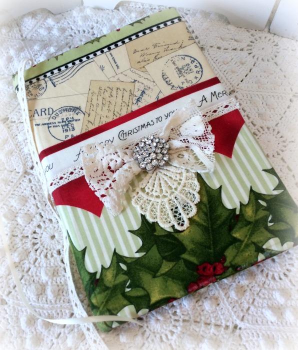 Vintage Merry Christmas fabric embellished junk Journal