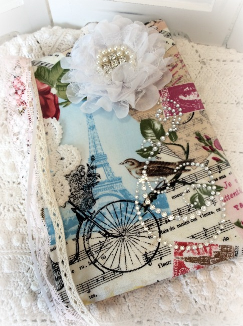 Vintage French Script padded fabric Embellished Journal