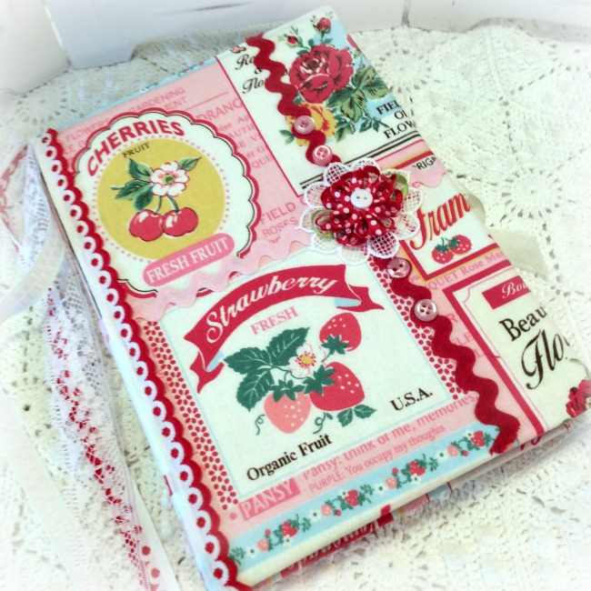 Vintage Retro labels Cherries Strawberries theme Embellished Journal