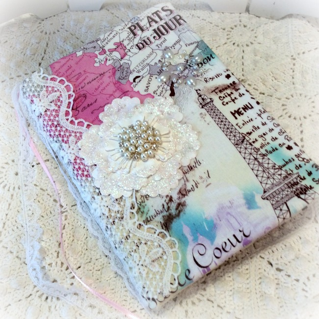 Vintage Paris Pink Eiffel tower Embellished junk journal