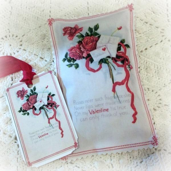 Vintage Valentine Postcard Red Roses Lavender Sachet