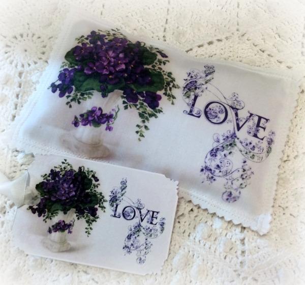 Vintage Postcard Lavender Sachet LOVE Violets