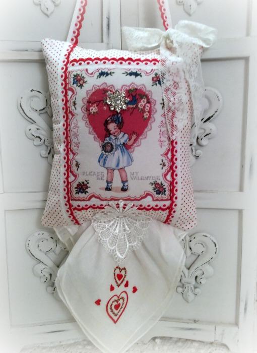 Vintage Valentine Keepsake Pillow w/gift tag and sachet