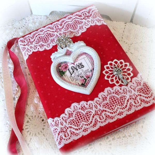 Vintage Valentine Heart theme Embellished Journal