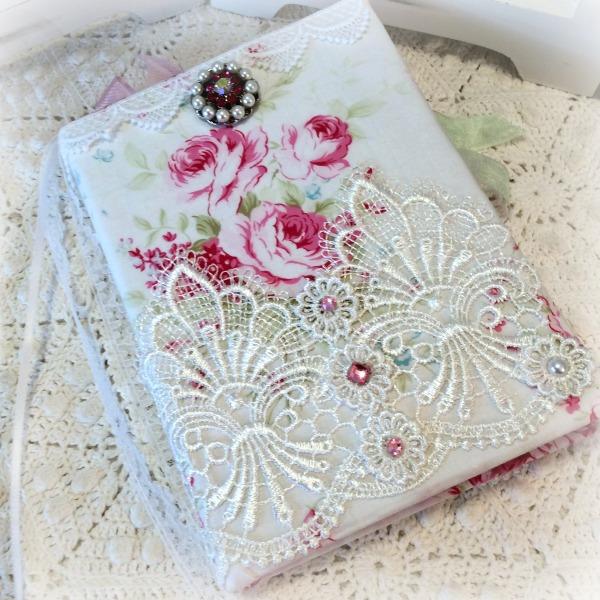 Vintage Pink Roses Valentine Embellished Journal