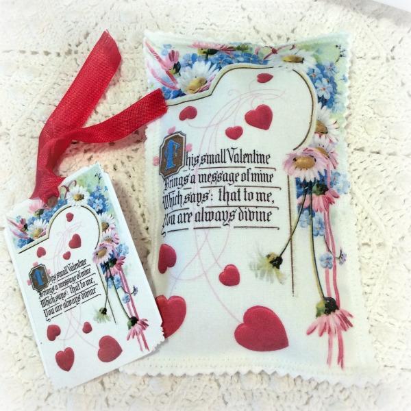 Vintage Valentine Postcard Hearts & Flowers Sachet