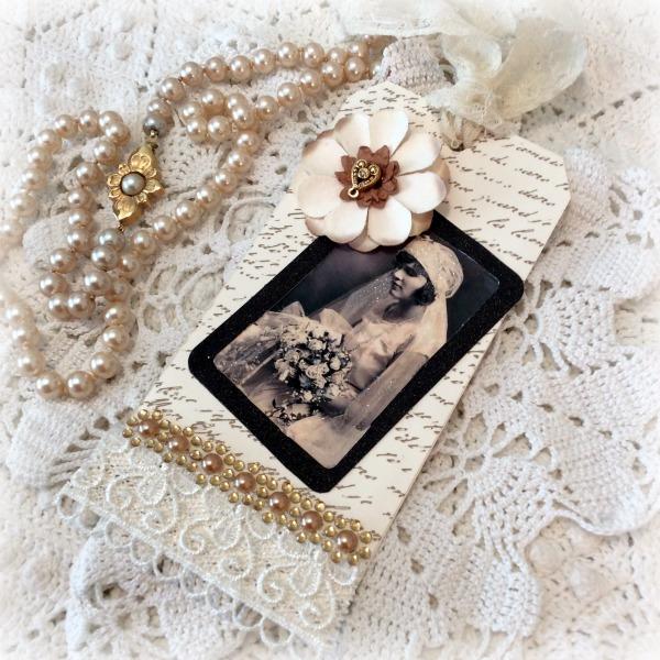 Large Vintage Bride Gift tag