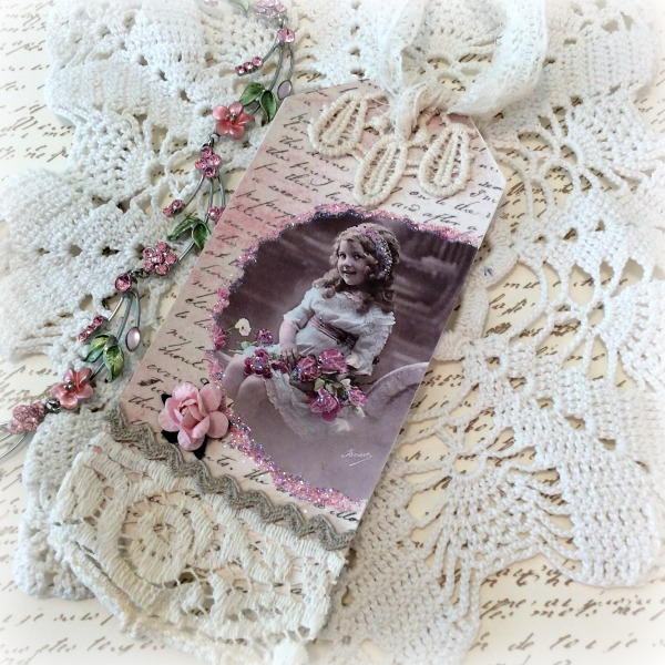 Vintage Little girl photo Gift tag