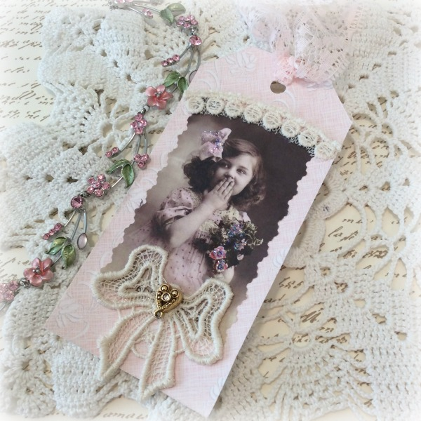 Vintage Photo pink Gift tag