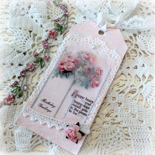 Vintage Birthday Pink Roses Gift tag
