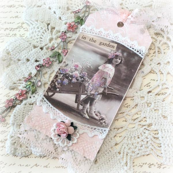 Vintage Photo Pink Wheelbarrow of roses tag