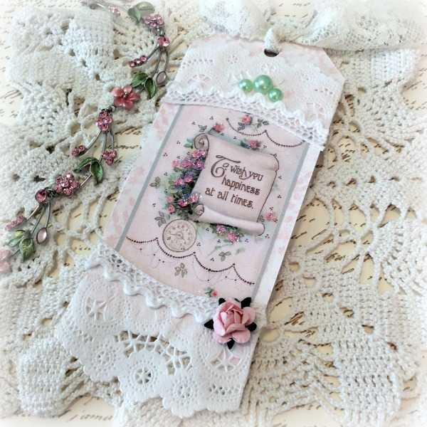 Pink Wishes Friendship gift tag
