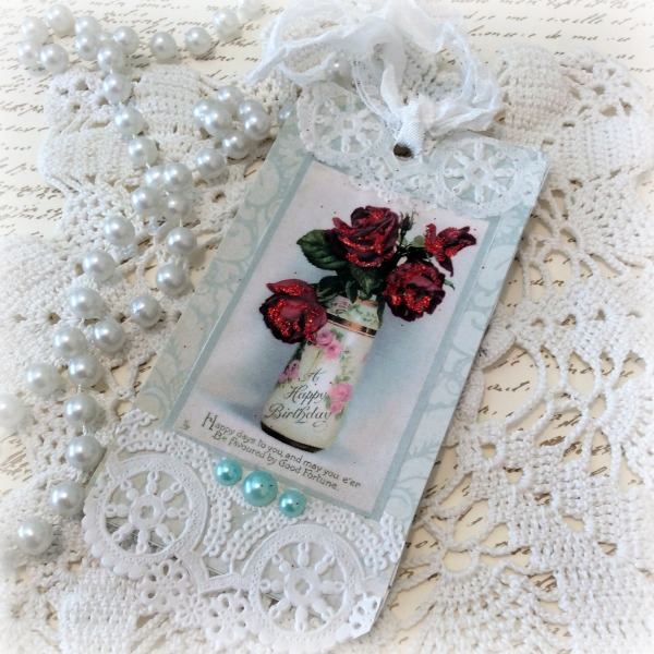 Vintage Red Roses Birthday gift tag