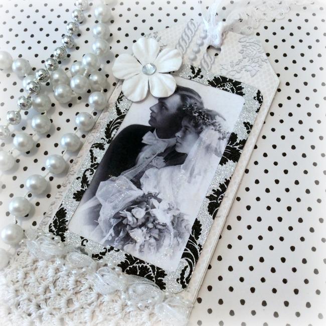 Vintage Wedding Couple Tag silver/black