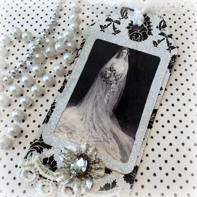 Vintage Bride Silver/Black gift tag