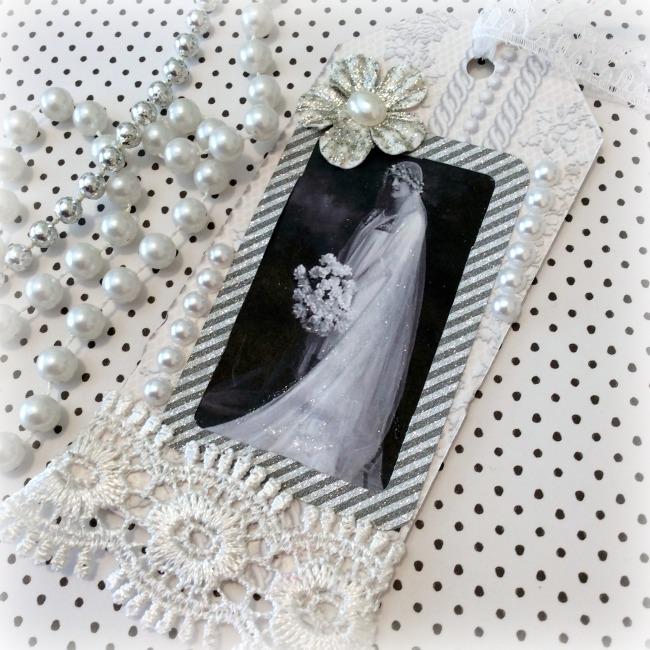 Vintage Bride Silver gift tag
