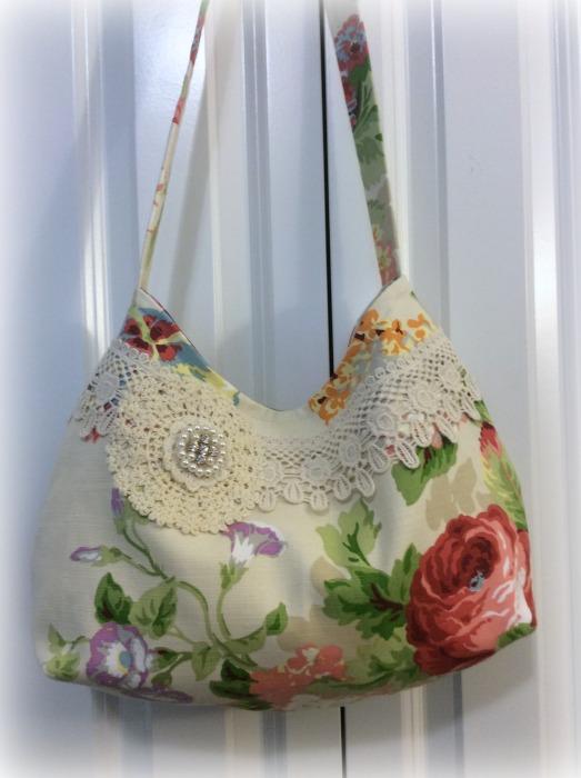 Summer Cottage roses Slouchy Hobo handbag