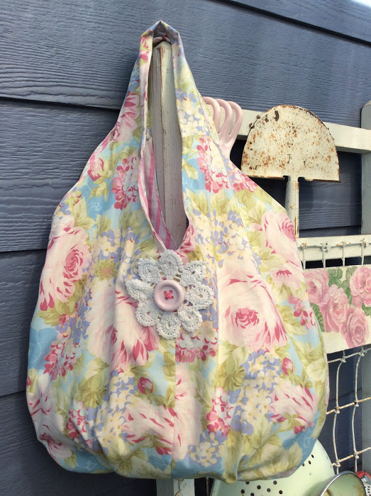 Shabby Pink Roses Large Packable Market/Beach bag
