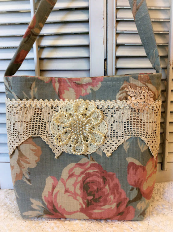 Dusty blue rose Market Tote Purse