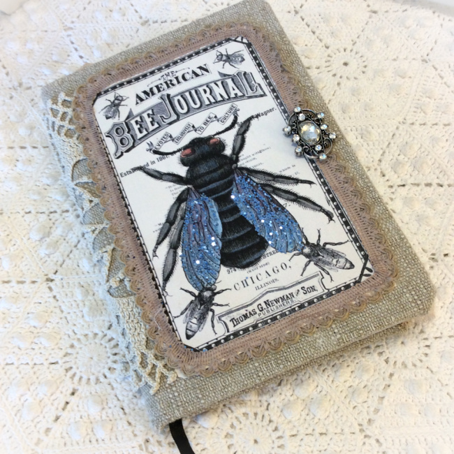 Vintage Bee Keeper embellished journal