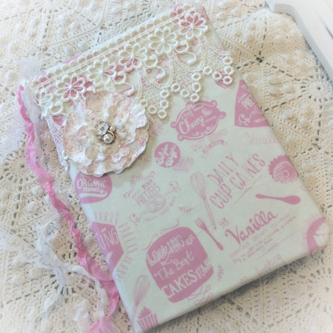 Pink Retro Baking Recipe Embellished Journal