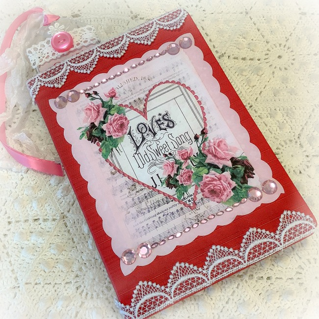 Vintage Sweet Valentine Embellished Journal