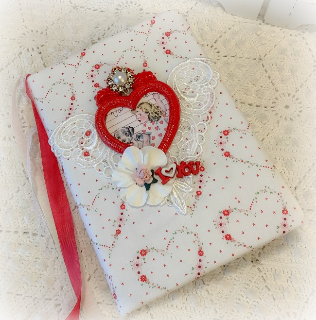 Retro Vintage Valentine Hearts embellished journal