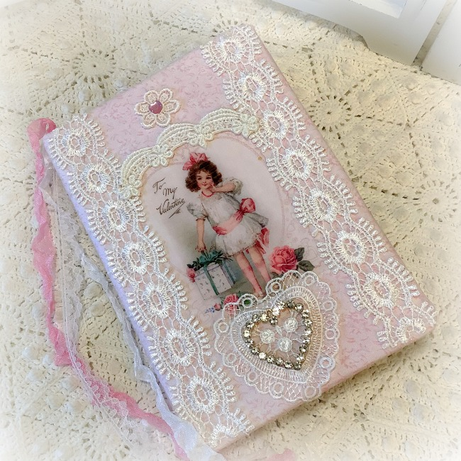 Pink Valentine Vintage Embellished journal