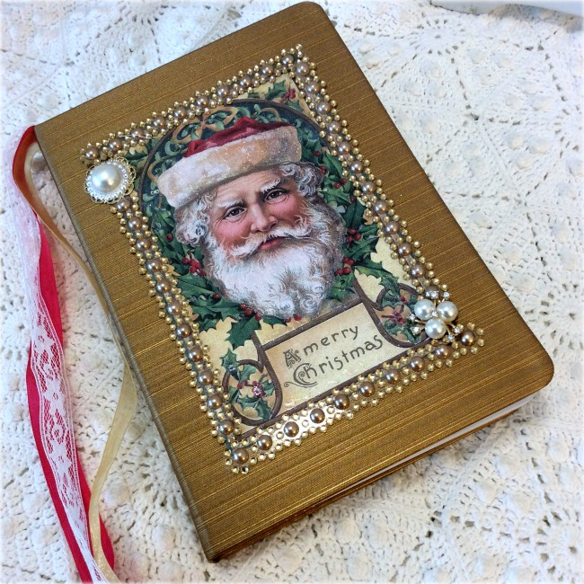 Vintage Santa Christmas Embellished Journal