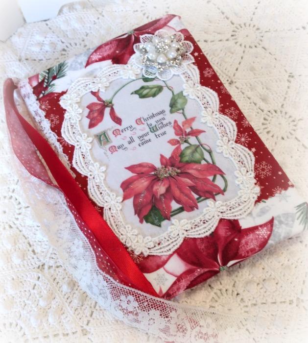 Christmas vintage Poinsettia theme Embellished Journal