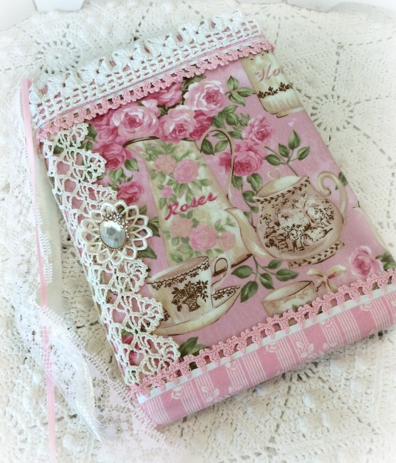Tea and Pink Roses fabric Embellished Journal